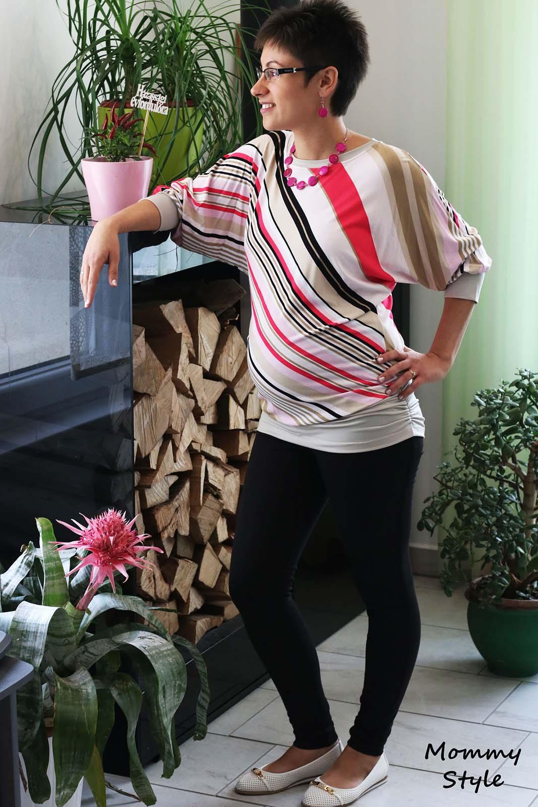Mommy Style ferdén csíkos denevér ujjú kismama tunika