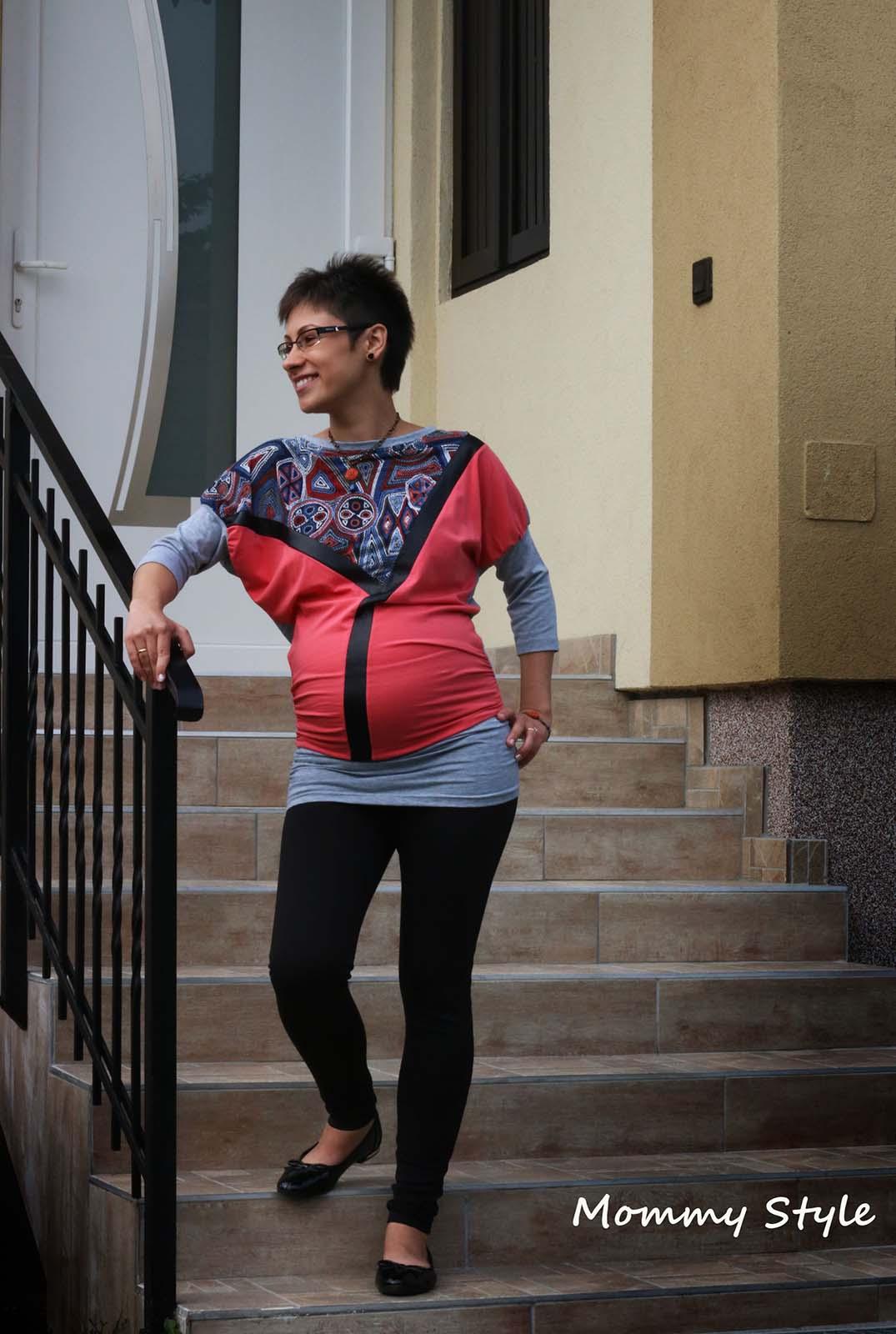 Mommy Style bőrbetétes denevér ujjú kismama tunika