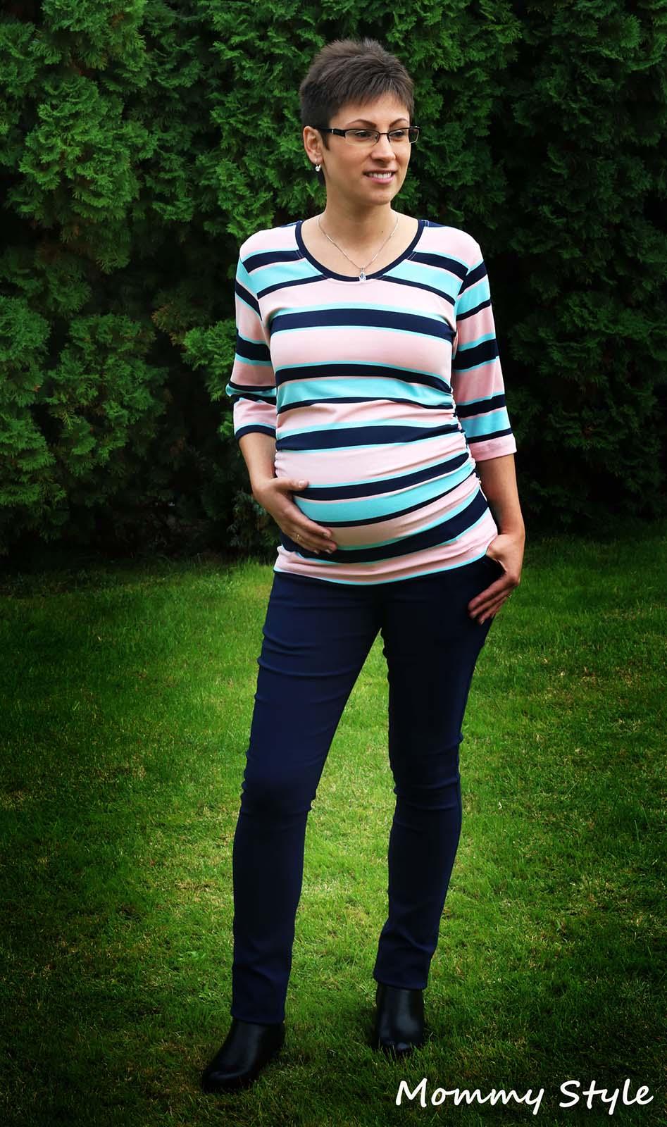 Mommy Style csíkos csini kismama póló