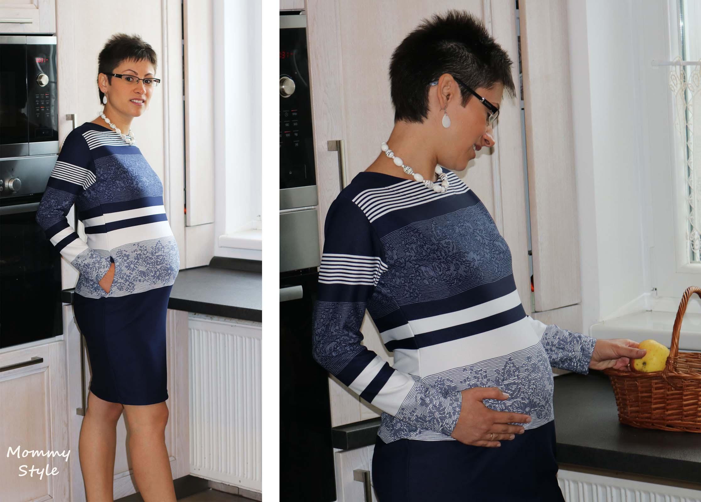 Mommy Style csíkos, zsebes kismamaruha