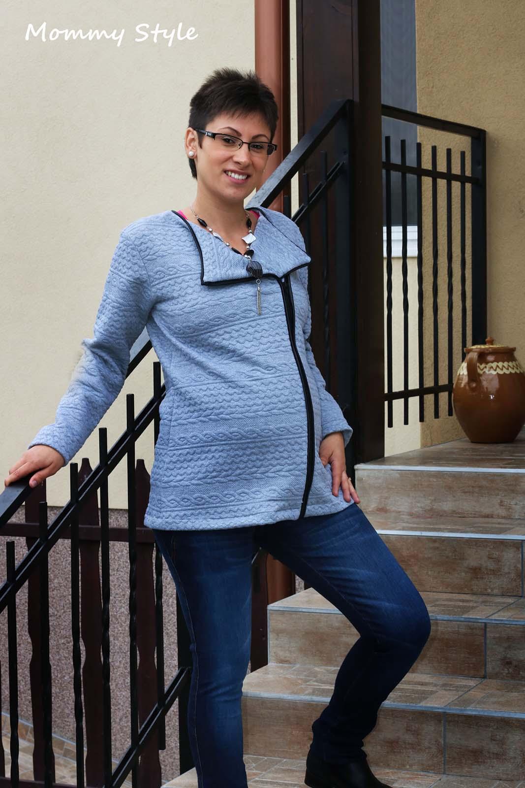 b63e7c4275 Mommy Style zipzáros kismama kardigán ...